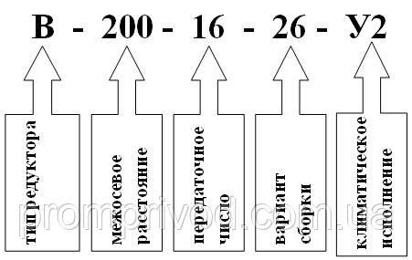 Условное обозначение редуктора В-200
