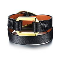 Женский кожаный браслет в два оборота с металлической вставкой, фото 1