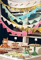 Бумажные гирлянды для кенди баров 2 метра, разные цвета (прямые, треугольники, полукруги)