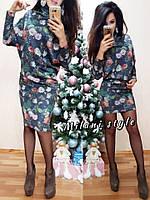 Платье с воротником-гольф из ангоры летучая мышь в цветочный принт 2 расцветки 1SMmil1026