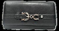 Оригинальный женский кошелек с пряжкой из натуральной кожи черного цвета  BBX-098689, фото 1