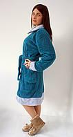 Женский махровый халат средней длины большие размеры