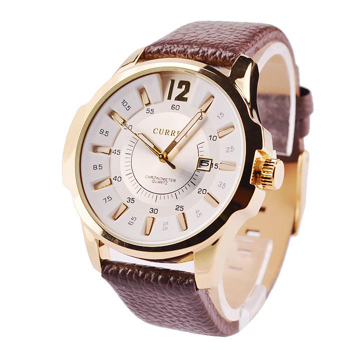 Годинники наручні чоловічі Curren Colorado brown-gold-white