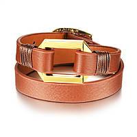 Женский кожаный браслет в два оборота, цвет коричневый