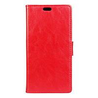 Чехол книжка для Lenovo K6 K33a48 боковой с отверстием под динамик, гладкая кожа, красный