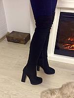 Стильные женские ботфорты демисезонные, материал искусственная замша, каблук широкий 11 см. Черный цвет