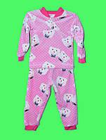 Пижама махровая для девочки 1-6 лет Love розовая