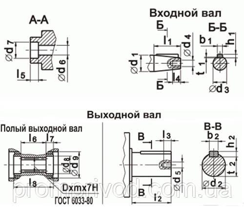 Чертежи входного и выходного валов редуктора 2Ч-80