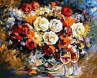 Раскраски для взрослых 40×50 см. Розы и вино Художник Леонид Афремов, фото 1