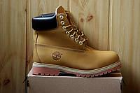 Мужские зимние ботинки Timberland Original, рыжие / ботинки тимберленд мужские, натуральный нубук, на меху