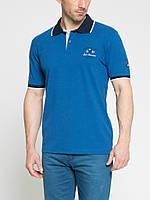 Мужское поло LC Waikiki синего цвета с темно-синим воротником