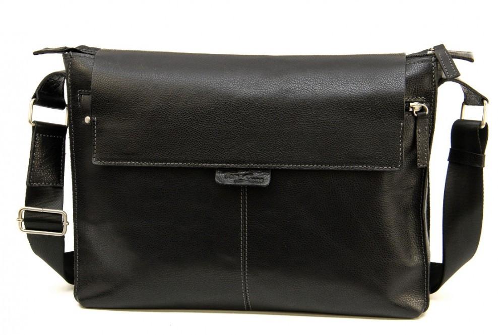 Кожаная мужская сумка Tom Stone 504 черная