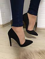 Элегантные женские замшевые туфли в стиле Zara на высоком каблуку. Цвет черный