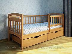 Кровать одноярусная Карина Люкс с ящиками и бортиками массив