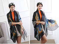 Синий легкий шарф с птицей, фото 1