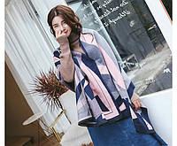 Кашемировый синий шарф Геометрия, фото 1