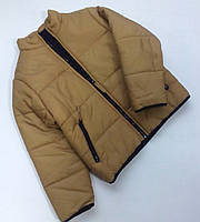 Зимняя куртка-пуховик для мальчика бежевого цвета