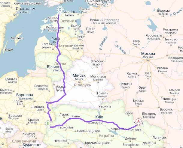 Харьков, Украина → Шегини-Медика → Таллин, Эстония