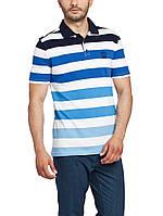 Мужское поло LC Waikiki белого цвета в сине-голубые полоски