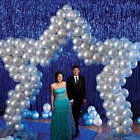 Шторка из фольги для праздника ( фотозонна), синяя