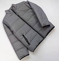 Зимняя куртка-пуховик для мальчика серого цвета