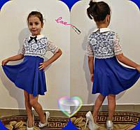 Платье детское нарядное из трикотажа с гипюром P5091