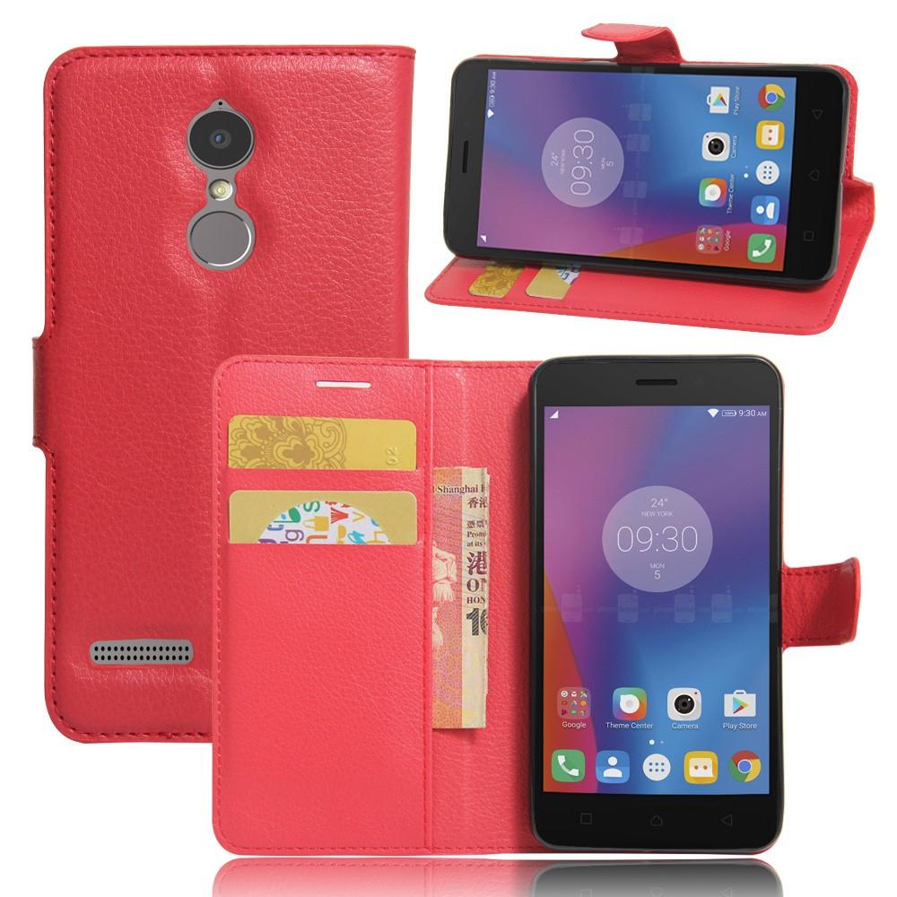 Чехол книжка для Lenovo K6 K33a48 боковой с отсеком для визиток, PREMIUM, красный