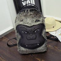Черный рюкзак Горилла с искусственным мехом , фото 1