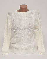 Теплый свитер женский вязаный Коса р.44-46 молочный N42-1