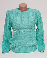 Теплый свитер женский вязаный Коса р.44-46 бирюза N42-2