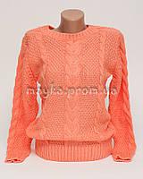 Теплый свитер женский вязаный Коса р.44-46 персик N42-3