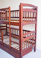 Кровать двухярусная трансформер Карина Люкс массив дерева полная комплектация