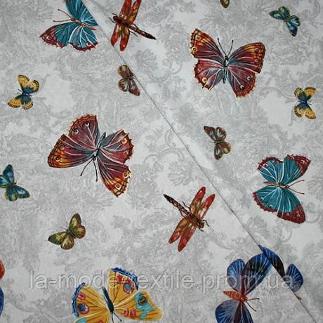 Штора хлопок Бабочки на сером