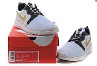 Кроссовки для тренажерного зала женские Nike Roshe Run low (white/gold) - 01Z