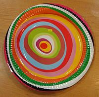 Тарелка бумажная круглая 18см весёлая