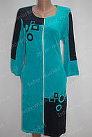 Велюровый халат на замке M, L, XL, XXL бирюзовый