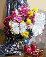 Раскраски для взрослых 40×50 см. Хризантемы и гранаты Художник Светлана Горячева