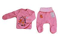 Комплект ясельный для девочки из 2 предметов  (ползуны, распашонка) розовый  49/56 см