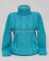 Теплый свитер женский вязаный р.48-50 голубой AL50-2