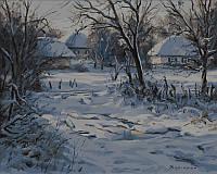 Раскраска по номерам Зима Хатки худ Колисной Геннадий (VP357) 40 х 50 см