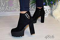 Женские весенние ботинки на каблуке и платформе, цвет черный