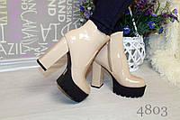 Женские весенние ботинки эко лак на каблуке и платформе, цвет бэж