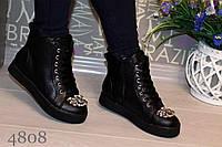 Женские весенние короткие ботинки, декорировано камушками  эко кожа, цвет черный