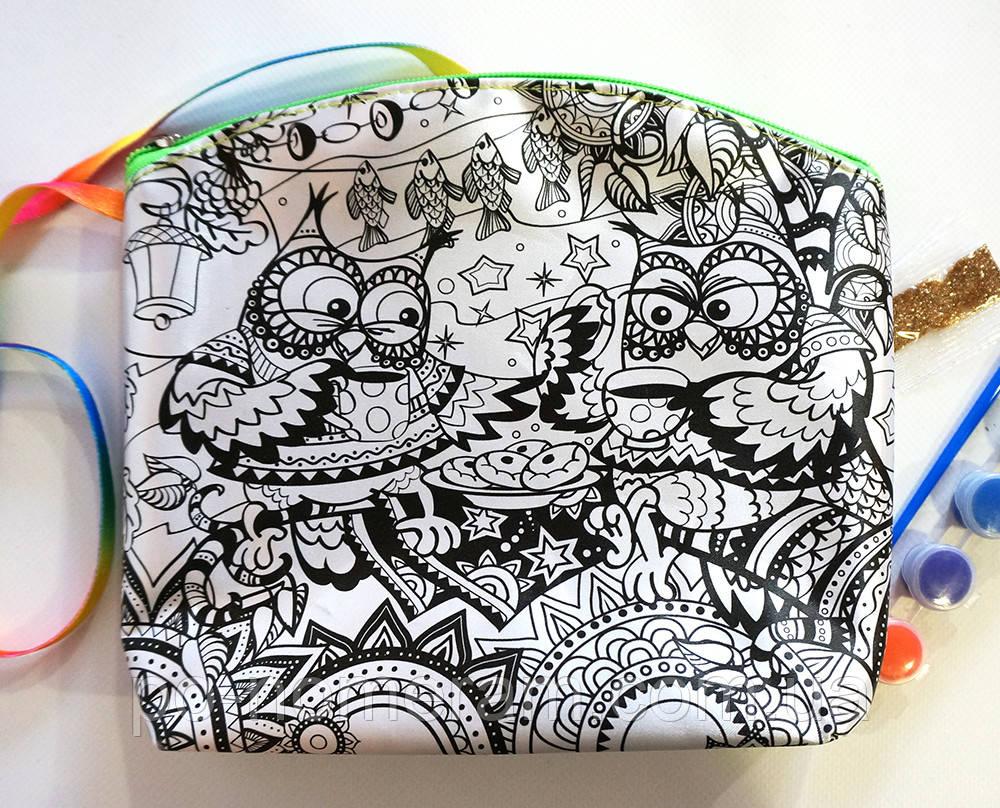 Клатч (пенал) раскраска My Color Bag Совы 2 21х21 см (mCOB-01-04)