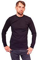 Зимняя теплая футболка с длинным рукавом мужская черная трикотажная хб интерлок (Украина)