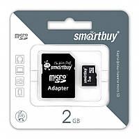 Micro SDHC 2Gb SmartBuy с адаптером SD