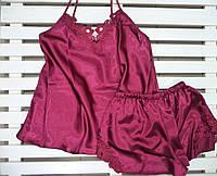 Красивая атласная женская пижама Jasmin марсал размер  M,L,