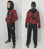 Ferrari-RED тёплый спортивный костюм с начёсом от 104 до 160 роста.