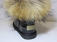 Угги детский декорированные енотом из натуральной кожи натуральный мех  , размеры - 29 -36