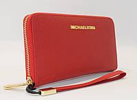 Кошелек женский кожаный на молнии Michael Kors 60019-B красный, расцветки